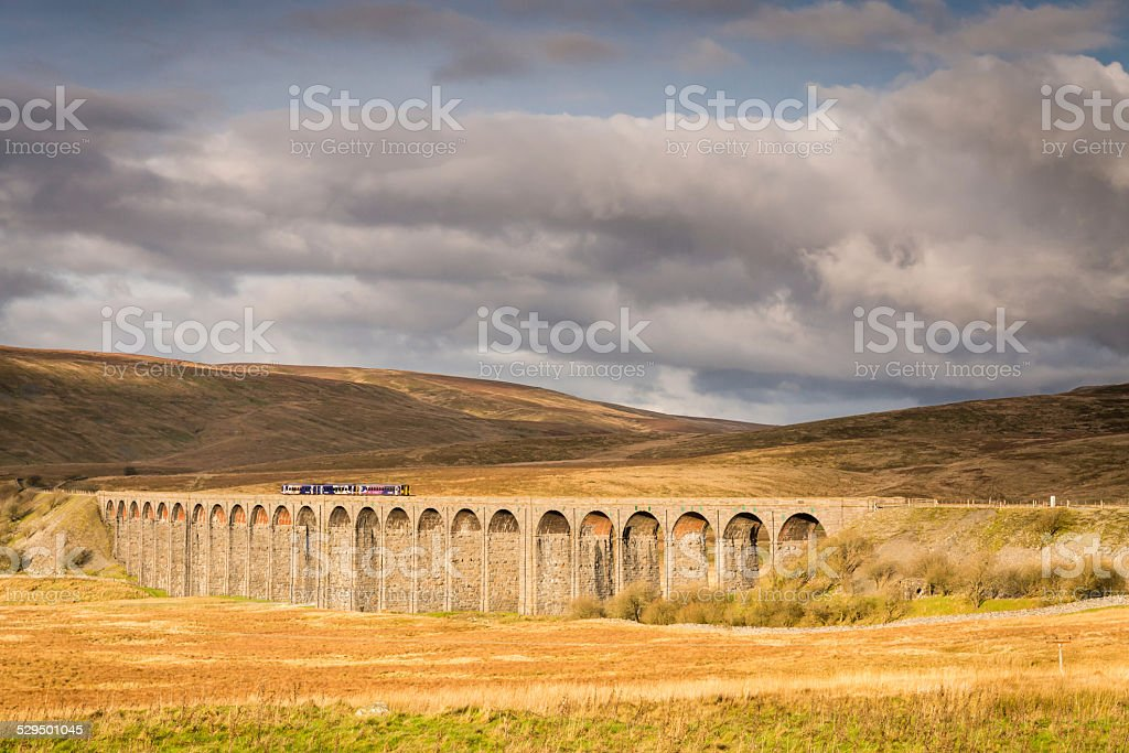 Ribblehead Viaduct with Train stock photo