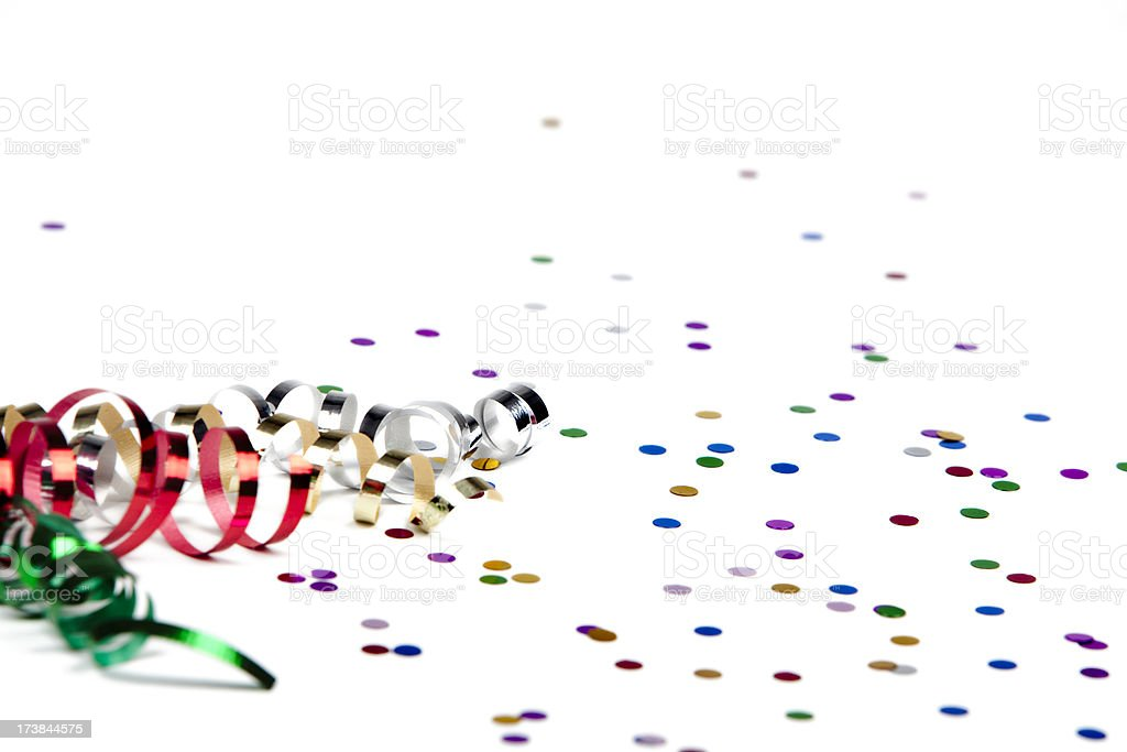 Ribbon and confetti isolated on white stock photo