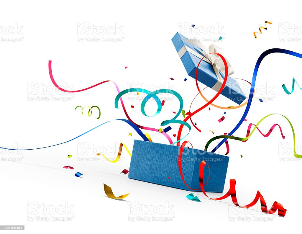 Ribbon and confetti popping out from blue gift box stock photo
