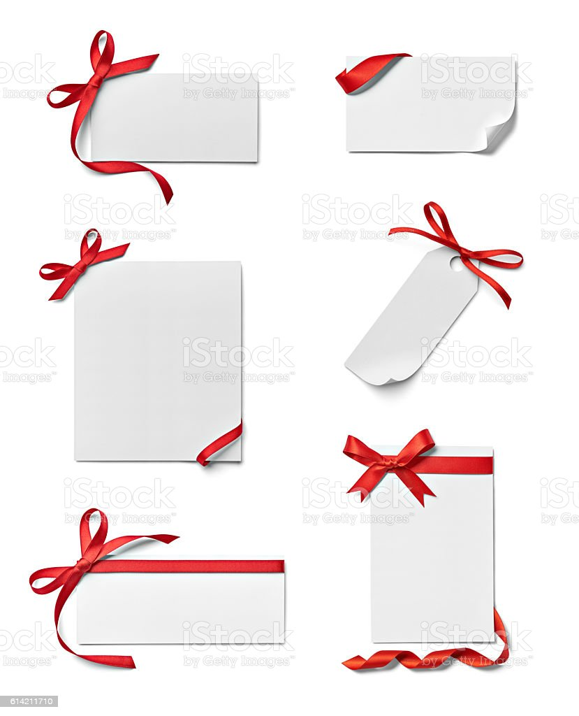 ribbon bow card note chirstmas celebration greeting stock photo