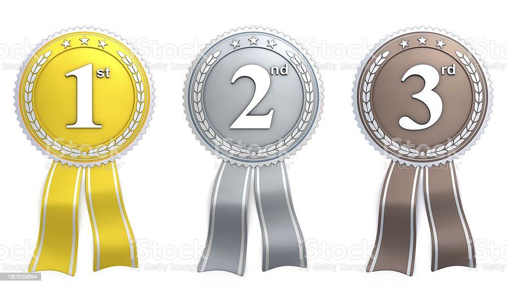 ribbon - gold silver bronze stock photo