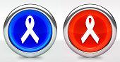 Ribbon Icon on Button with Metallic Rim