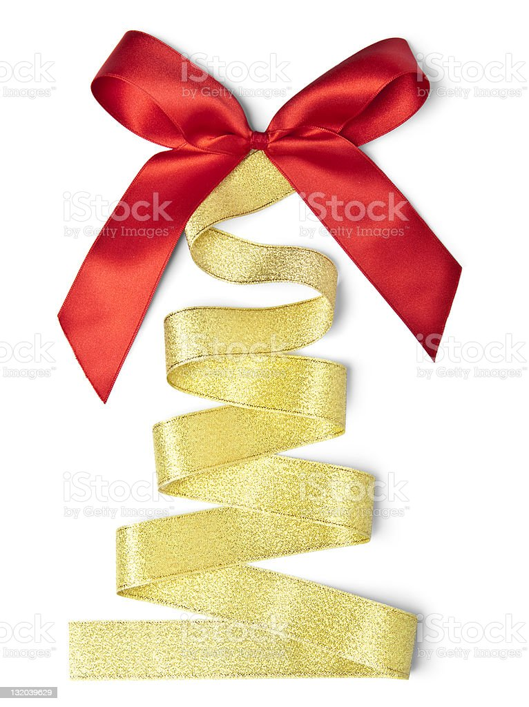 Ribbon in the shape of a Christmas tree stock photo