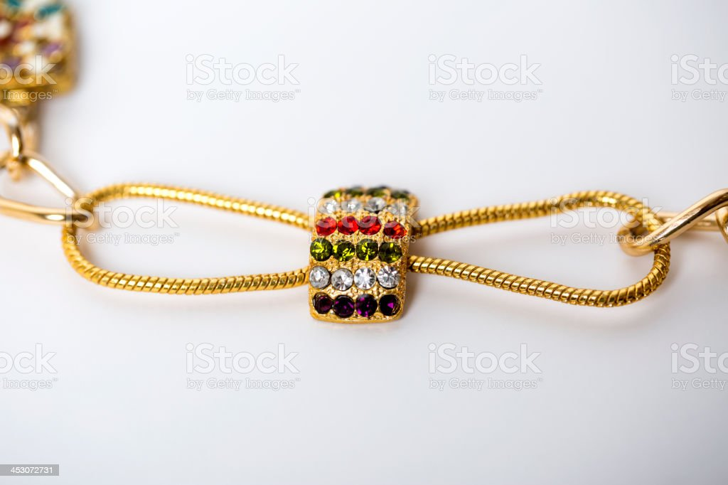 Ribbon necklace with diamonds royalty-free stock photo