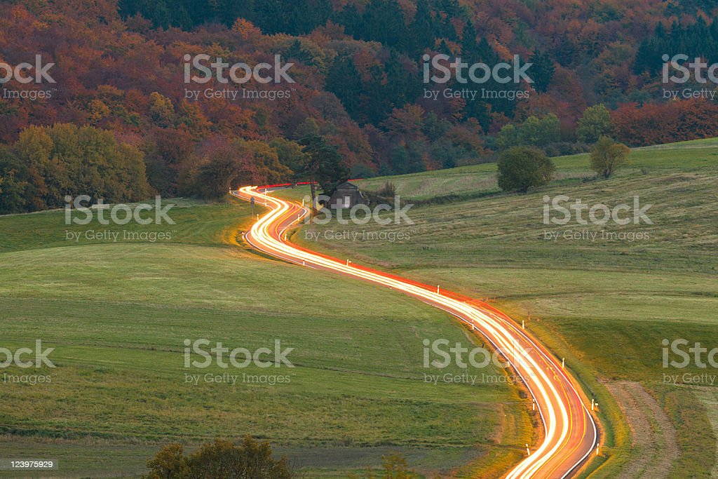 Ribbon of light on country road royalty-free stock photo