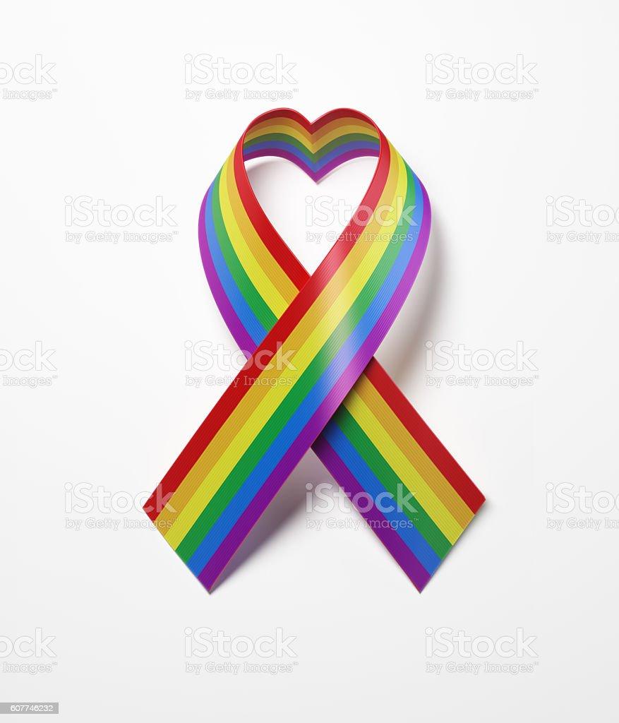 LGBT Ribbon On White Background stock photo