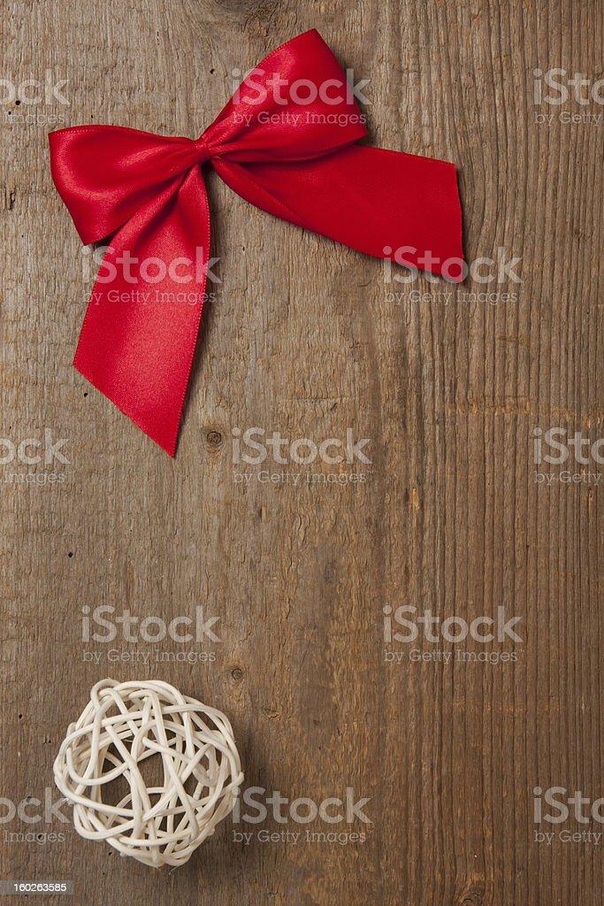 Ribbon on wood royalty-free stock photo