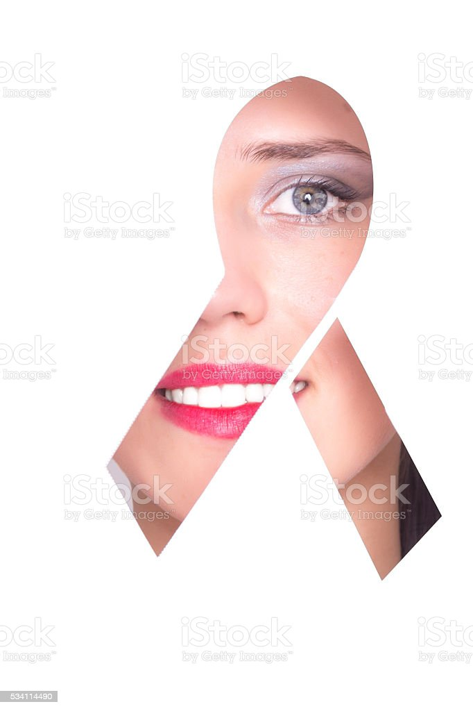 AIDS ribbon shape portrait. stock photo