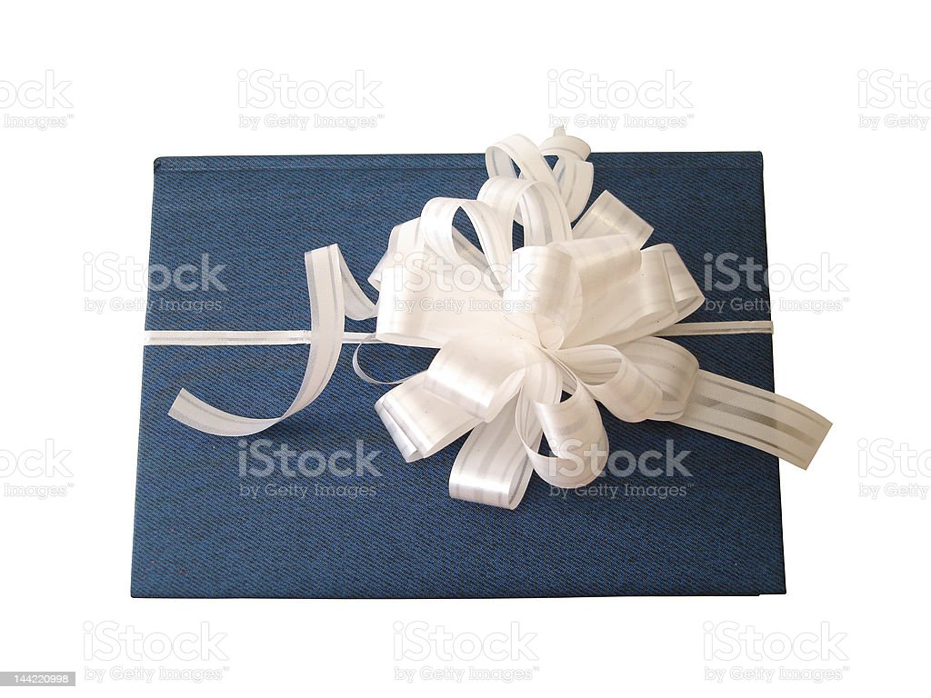 ribbon tied blue book over white royalty-free stock photo