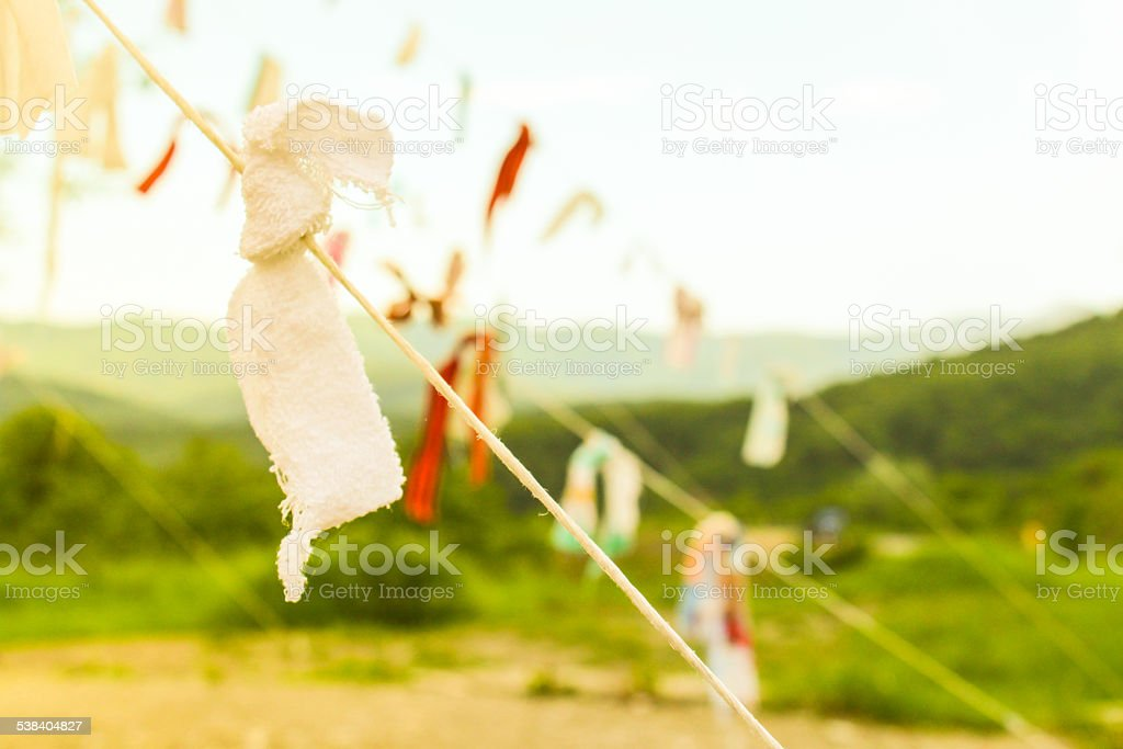 ribbons in the mountains stock photo