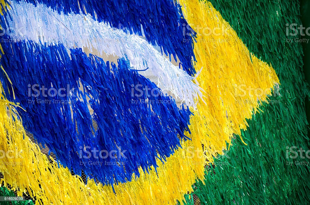 ribbons in the shape of the brazilian flag stock photo