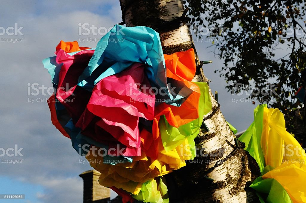 ribbons on a tree festival new mills derbyshire stock photo
