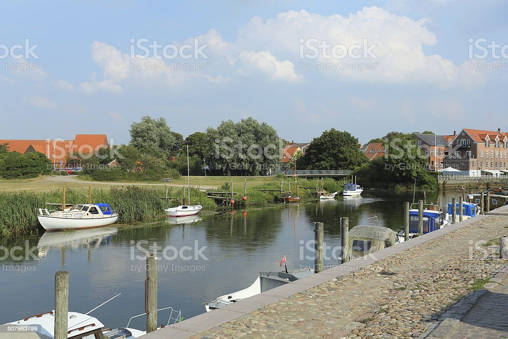Ribe ? River with boats stock photo