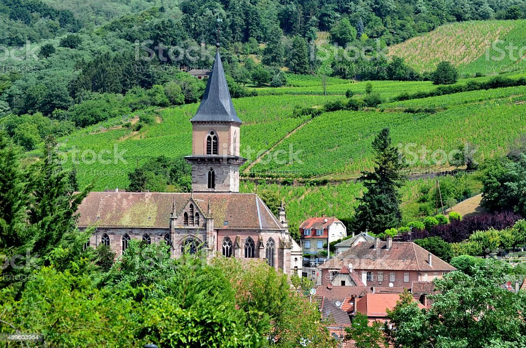 Ribeauville: Church, Houses and Vineyards stock photo