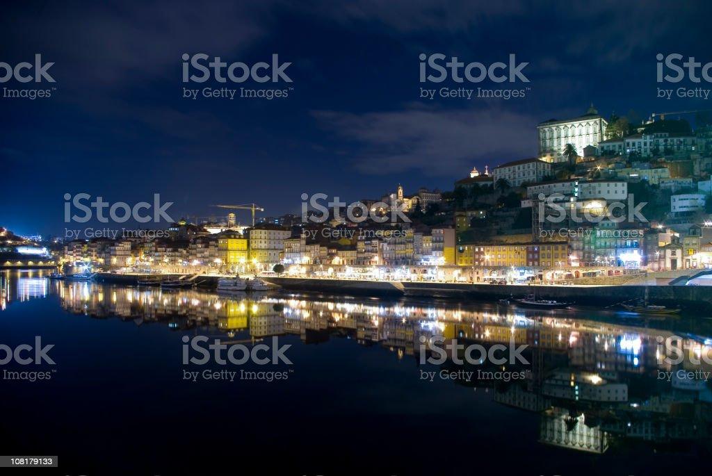 Ribeira and Douro River at Night royalty-free stock photo
