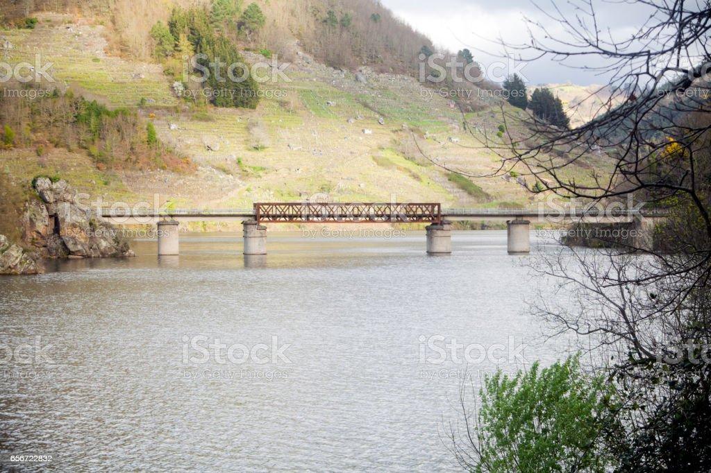 Ribeira sacra vineyards and bridge over river Miño, Galicia, Spain. stock photo