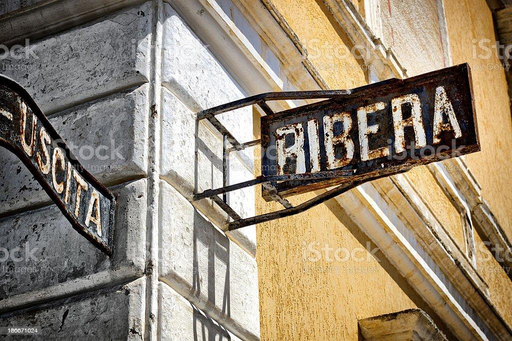 'Ribera' sign at abandoned railroad station stock photo