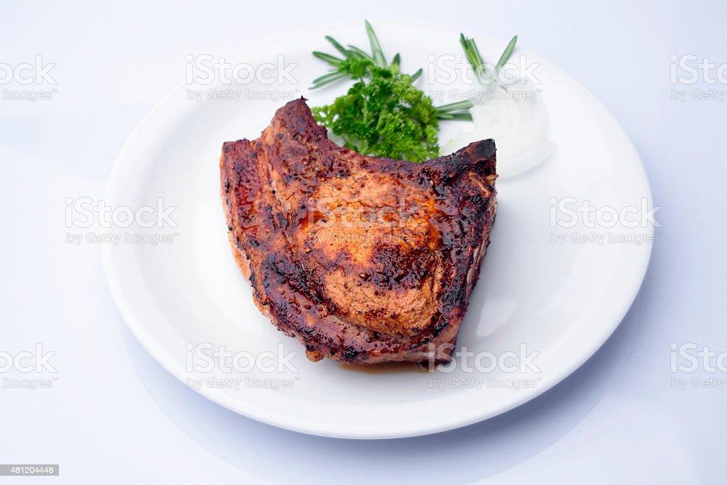 Ribeye steak with herbs stock photo