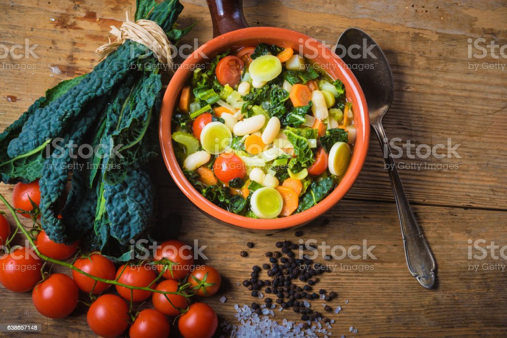 Ribollita, Tuscan soup classic, old-fashioned meal peasants. stock photo