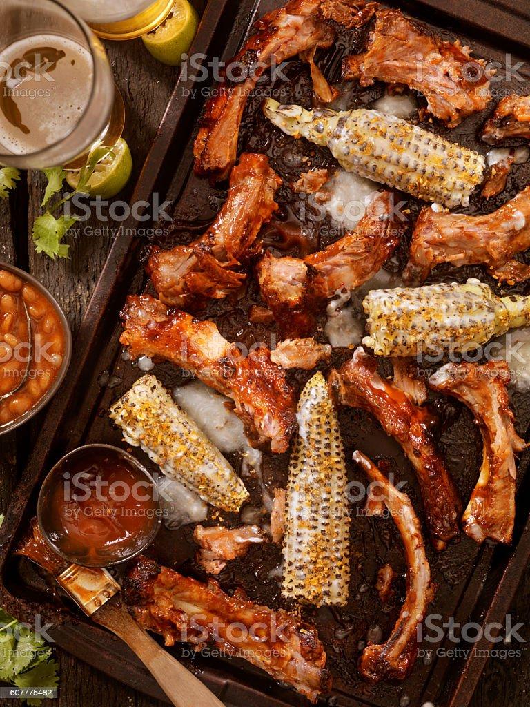 BBQ Ribs and Corn stock photo