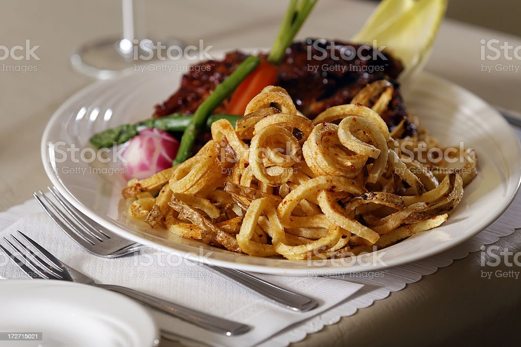 Ribs and fries stock photo