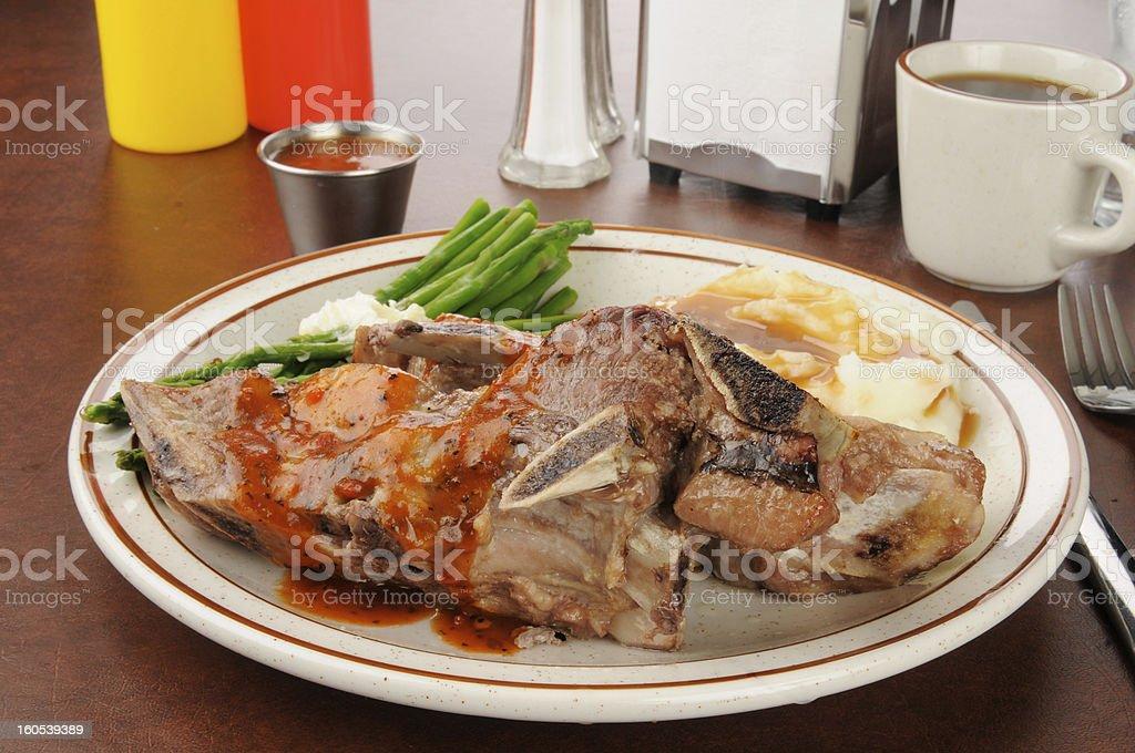 BBQ Ribs and mashed potatoes royalty-free stock photo