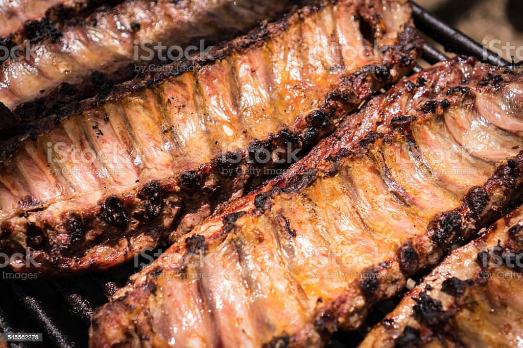 Ribs on Grill stock photo