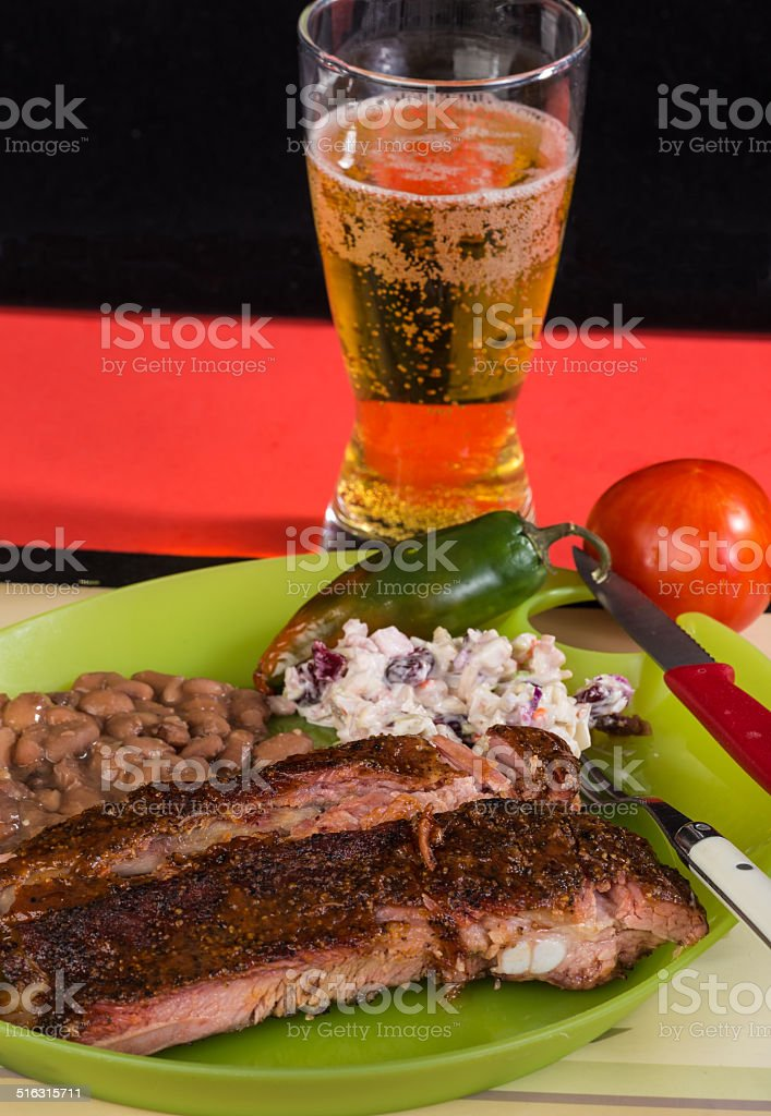 Ribs on Picnic Plate stock photo