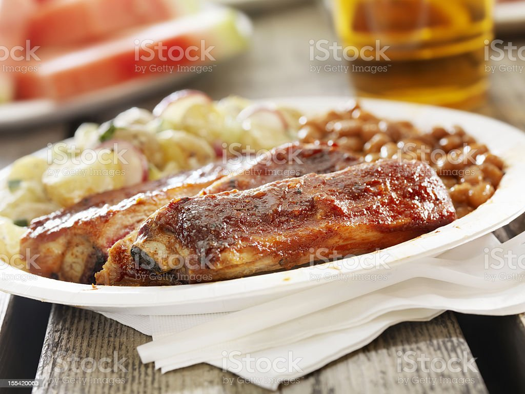 BBQ Ribs with a Beer royalty-free stock photo