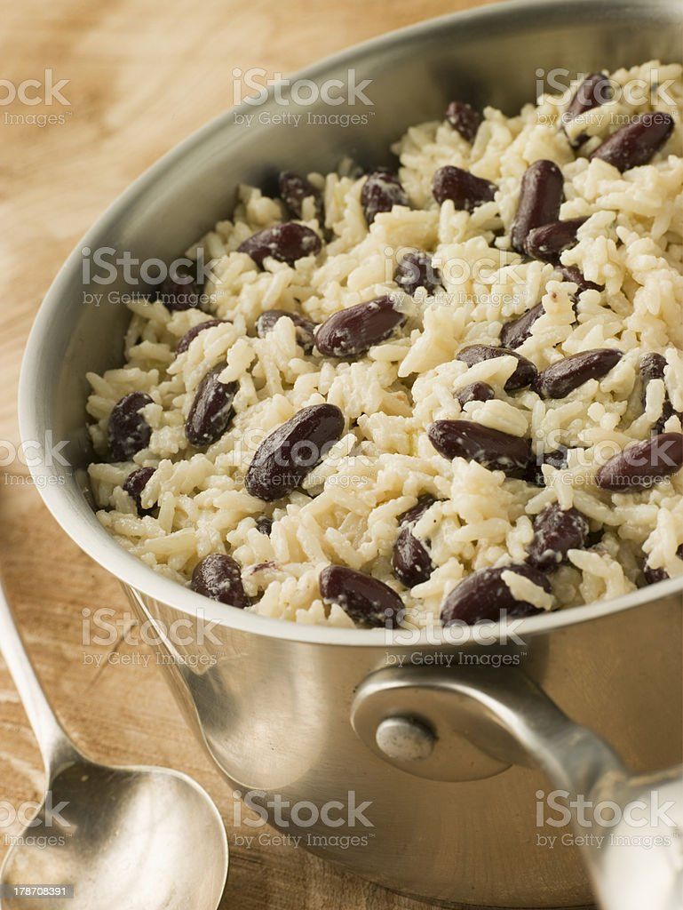 Rice and Beans in a Saucepan royalty-free stock photo