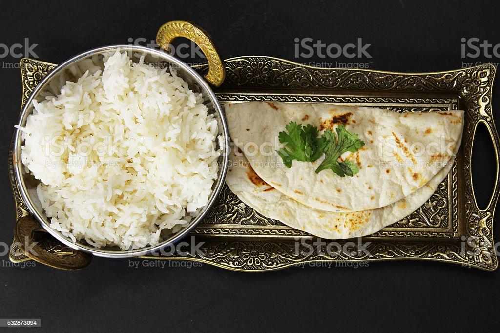Rice and Chapati stock photo