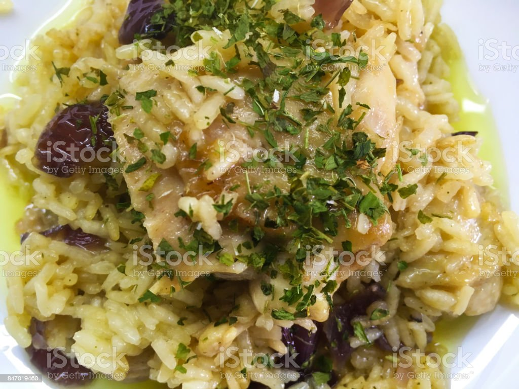 Rice and chicken food photo close up stock photo
