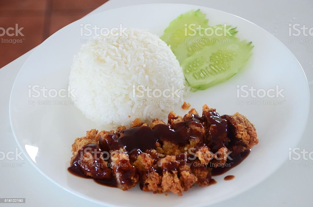 rice and fried pork cutlet with japanese sweet sauce stock photo