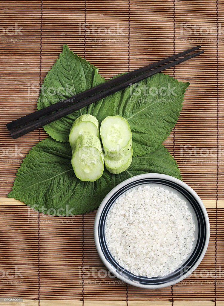 Rice and green vegetables - healthy eating royalty-free stock photo