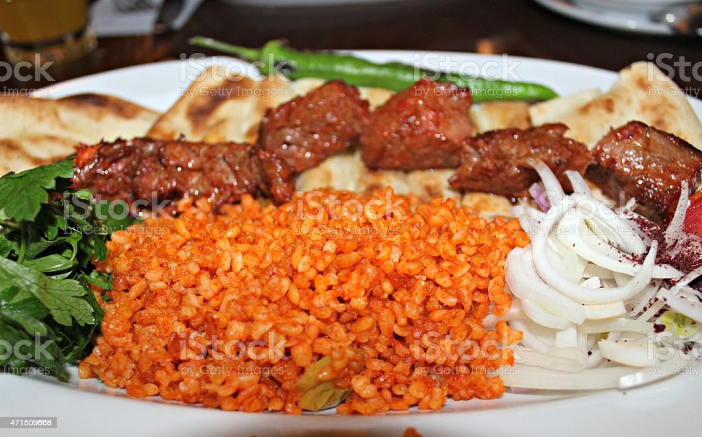 Rice and kebab stock photo