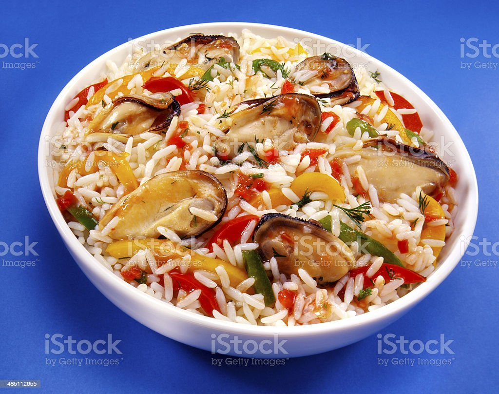 Rice and Mussels Dish stock photo