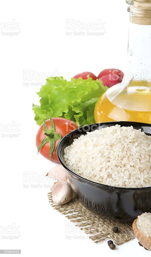 rice and nutrition food isolated on white royalty-free stock photo