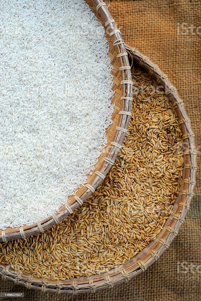 Rice and paddy in woven baskets stock photo