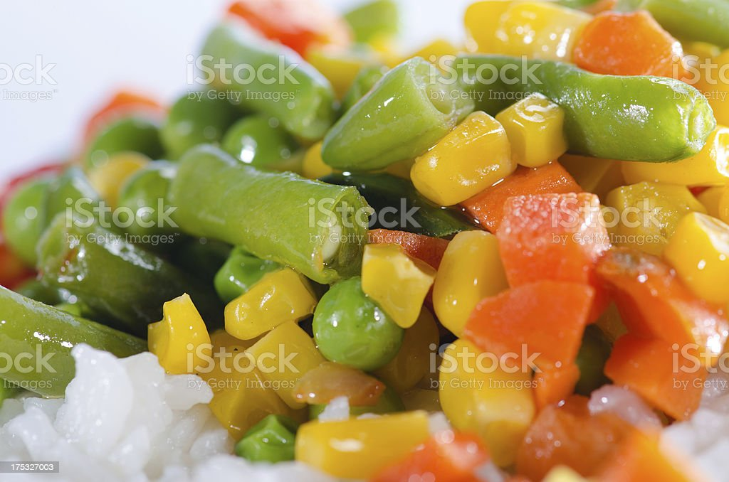 Rice and saut??ed vegetables close up royalty-free stock photo