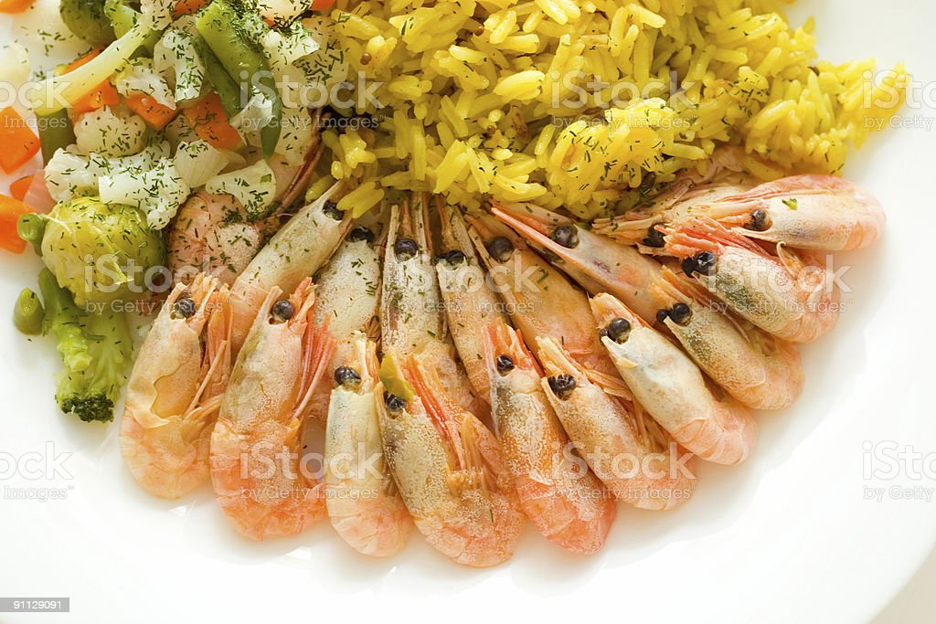 rice and shrimps royalty-free stock photo