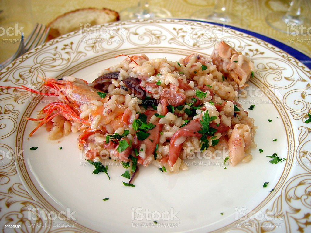 Rice and shrimps stock photo