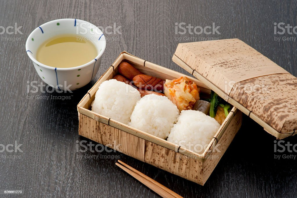 Rice ball lunch box stock photo