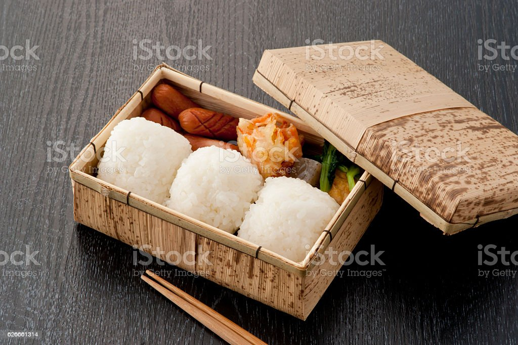 Rice ball lunch box stock photo