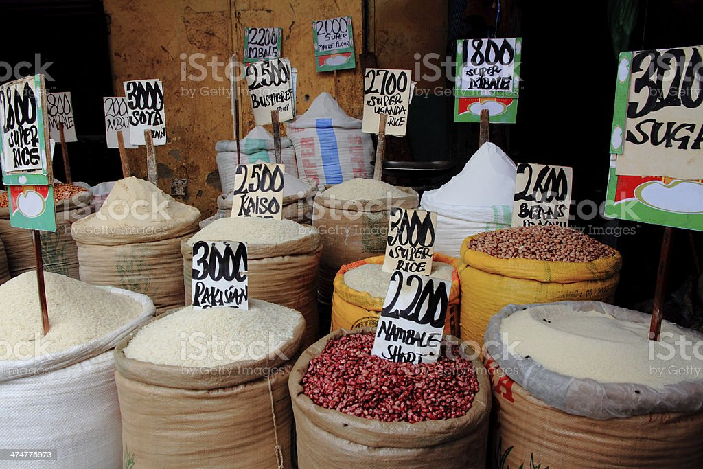 Rice, Beans, Sugar in African Market stock photo