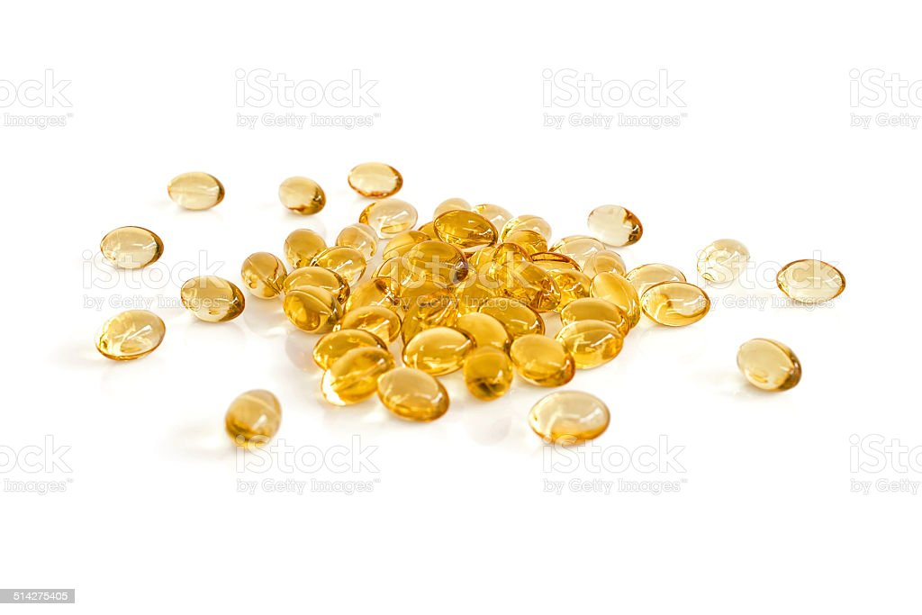 Rice bran oil capsules stock photo