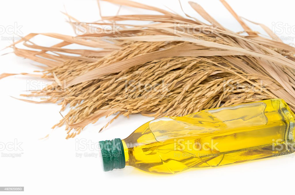 Rice bran oil in bottle glass stock photo