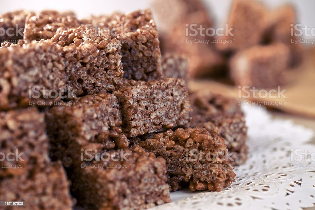 Rice cake with chocolate and caramel stock photo