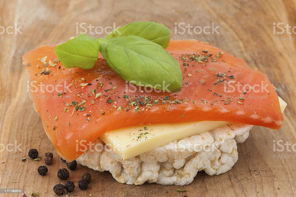 Rice cakes with smoked salmon stock photo