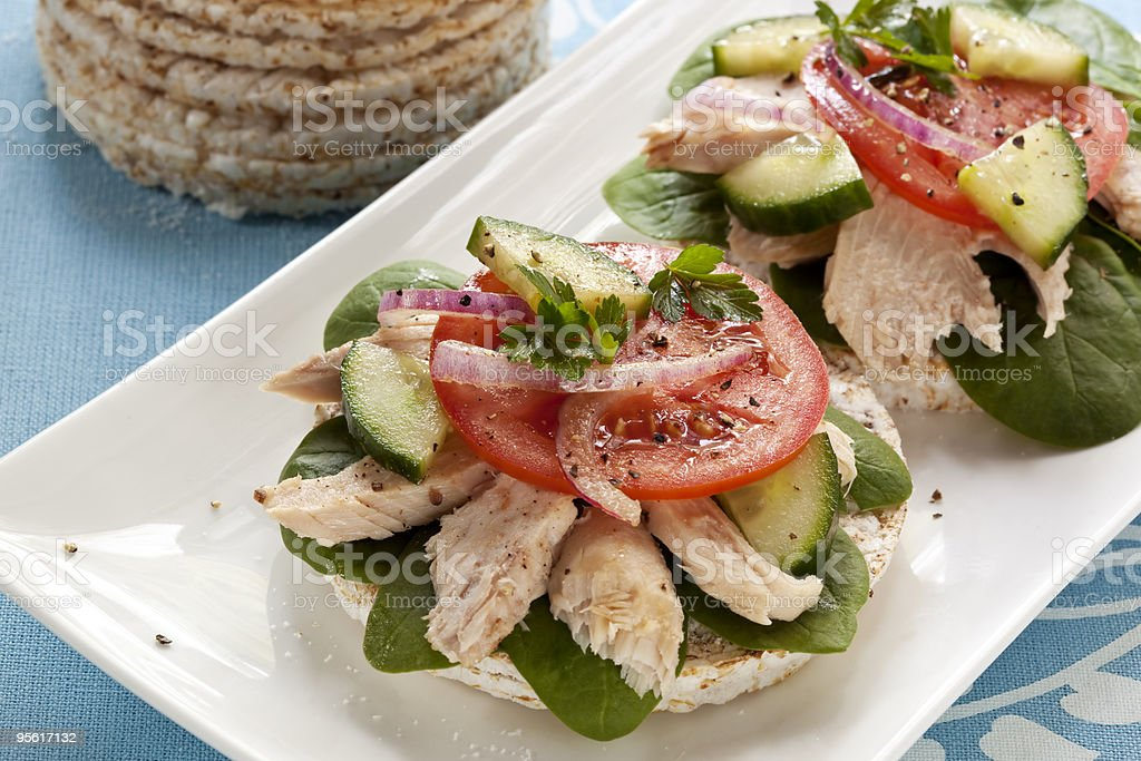 Rice Cakes with Tuna stock photo