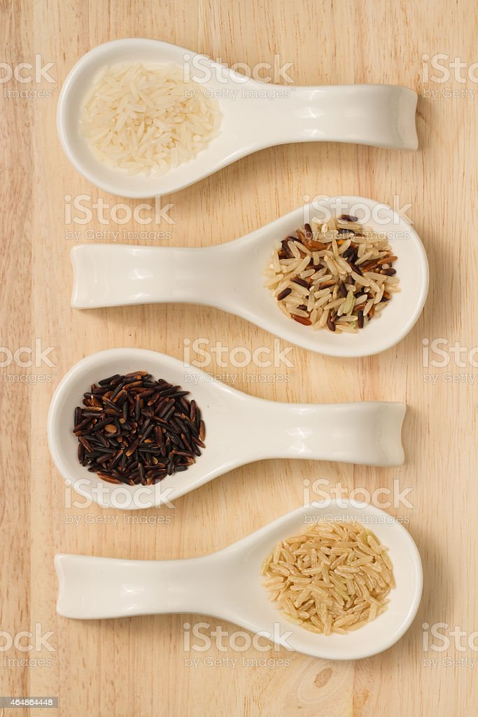 rice collection on spoons royalty-free stock photo
